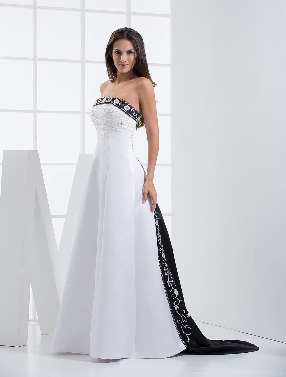 Strapless Embroidered Wedding Dress With Sweep Train