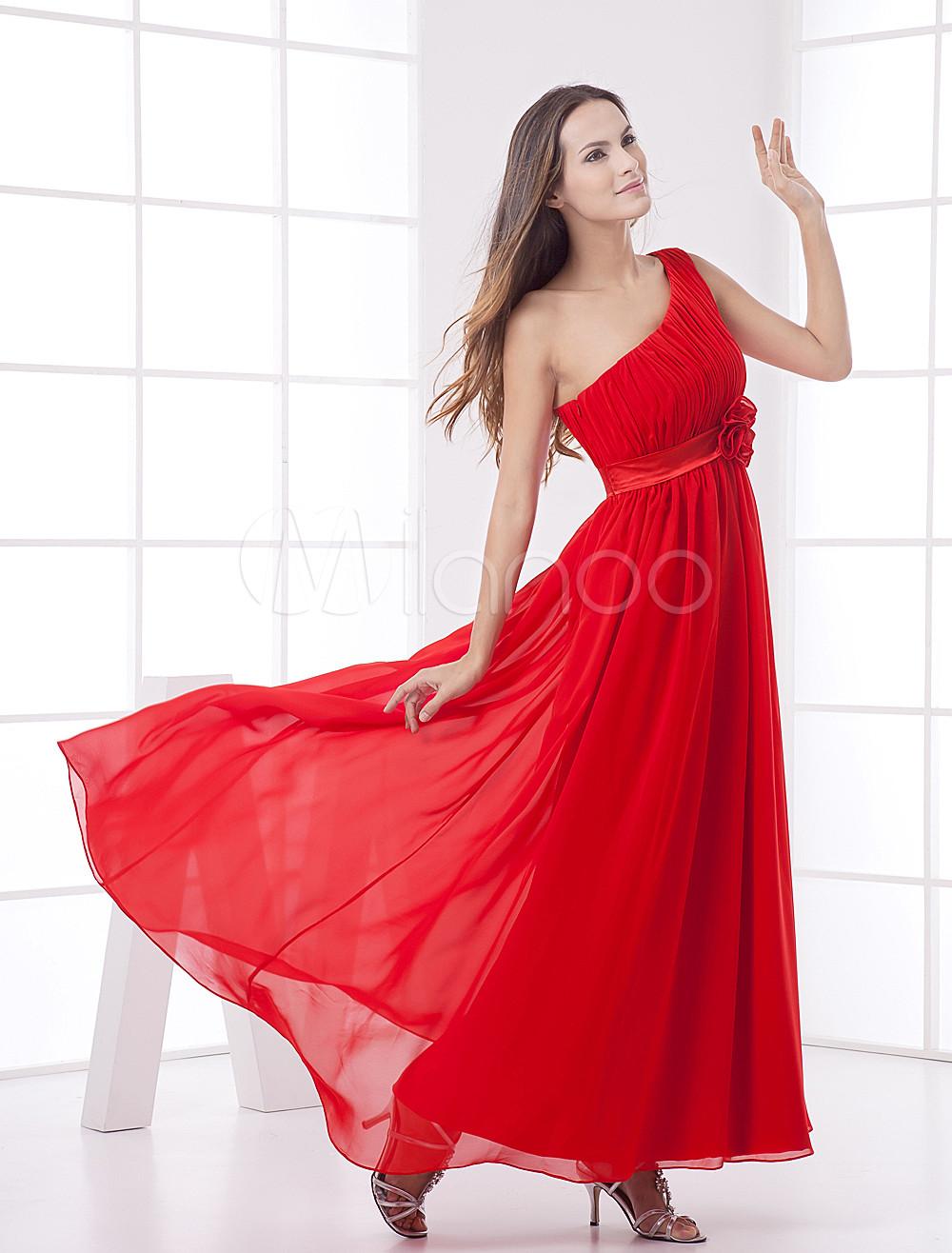 Red Elastic Silk Like Satin One Shoulder Empire Waist Evening Dress (Wedding Evening Dresses) photo