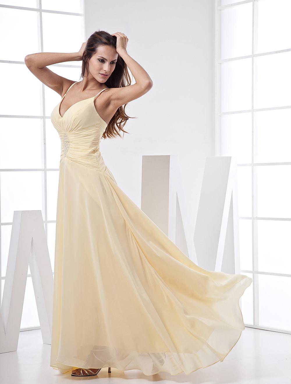 V-Neck Spaghetti Chiffon Prom Dress