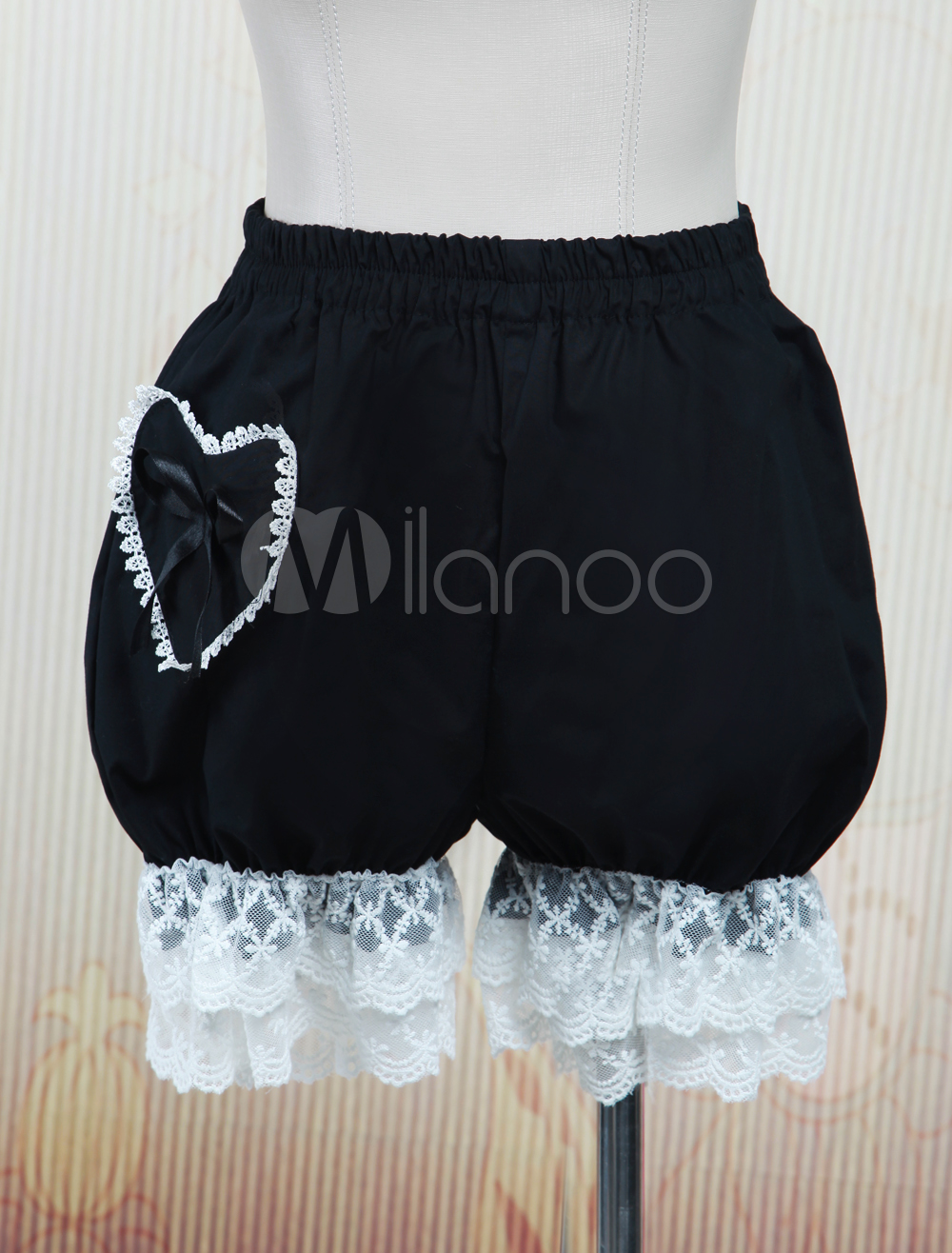 Cute Pocket Cotton Black Lace Lolita Bloomers $13.99 AT vintagedancer.com