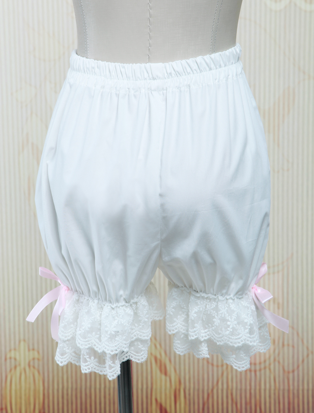Cotton White Lace Bows Lolita Bloomers $19.99 AT vintagedancer.com