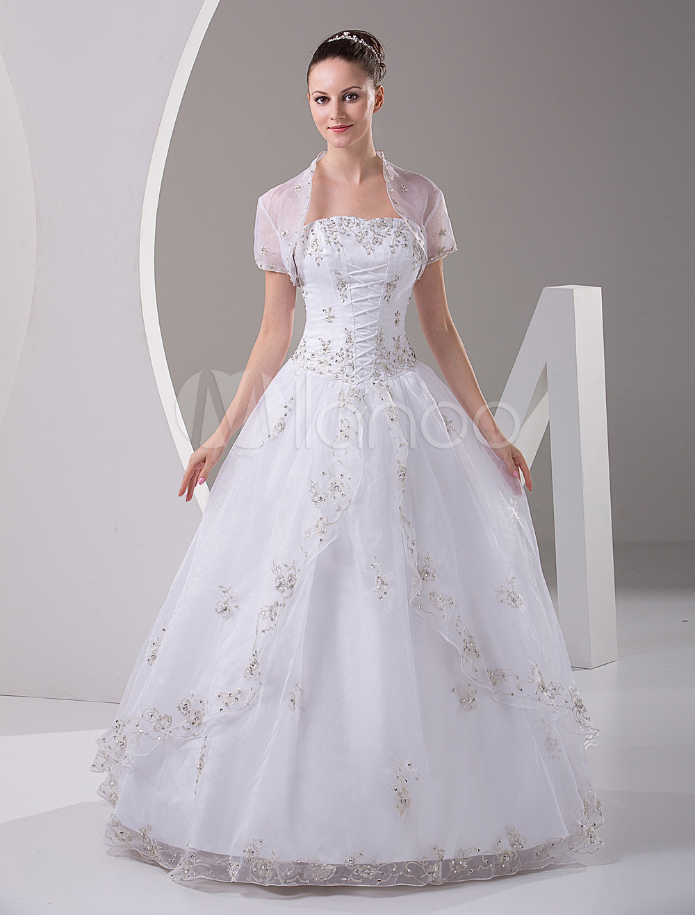 White Quinceanera Dress Strapless Satin Organza Dress (Wedding Quinceanera Dresses) photo