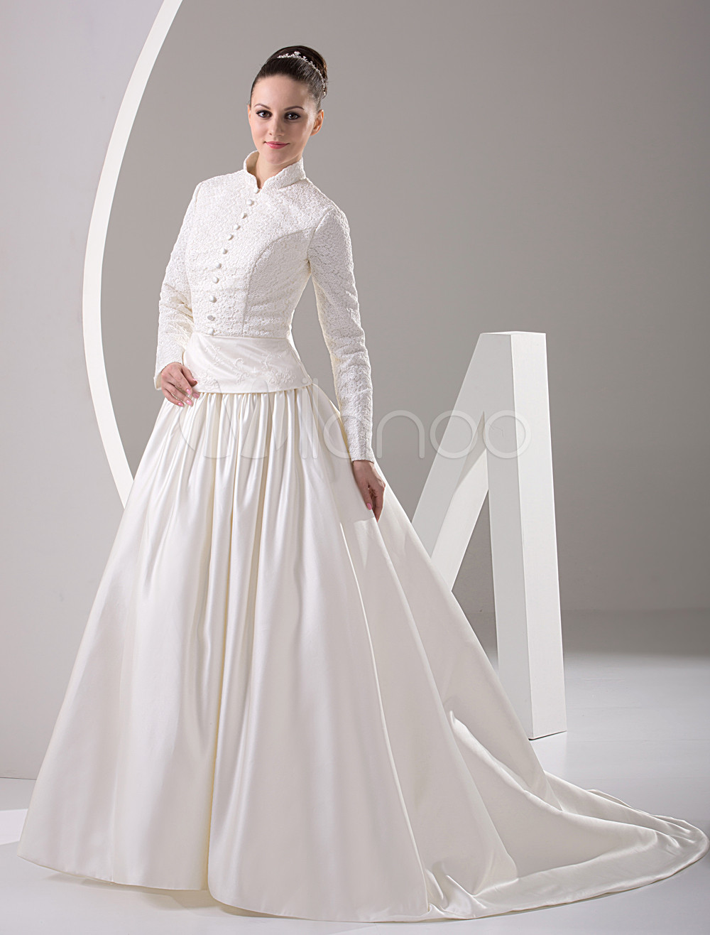 white long sleeves beading satin muslim wedding dress p muslim wedding dresses 12