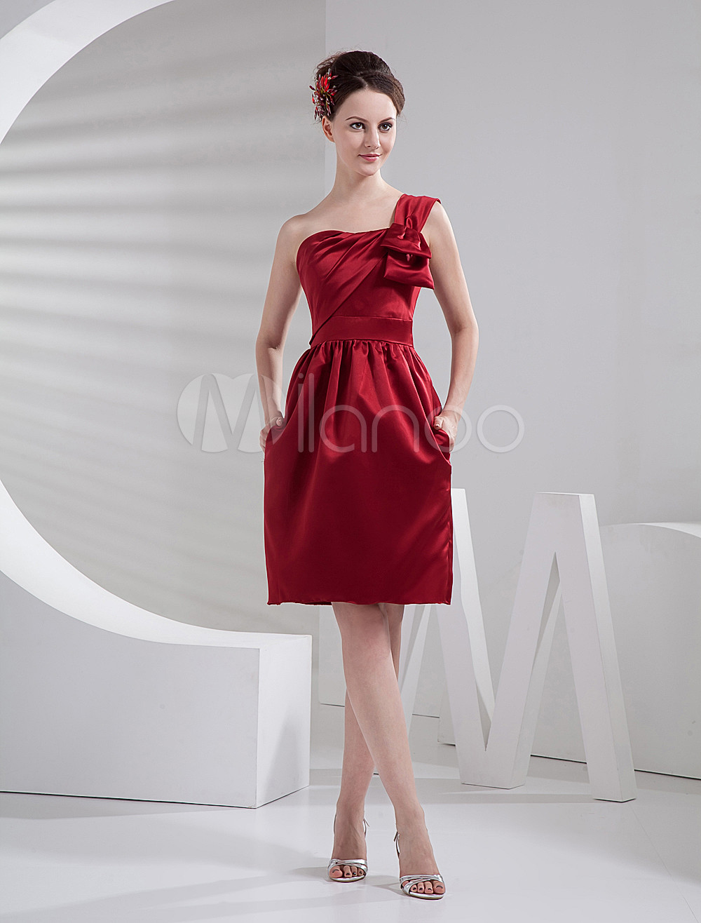 Burgundy Knee Length Satin One-Shoulder Bridesmaid Dress