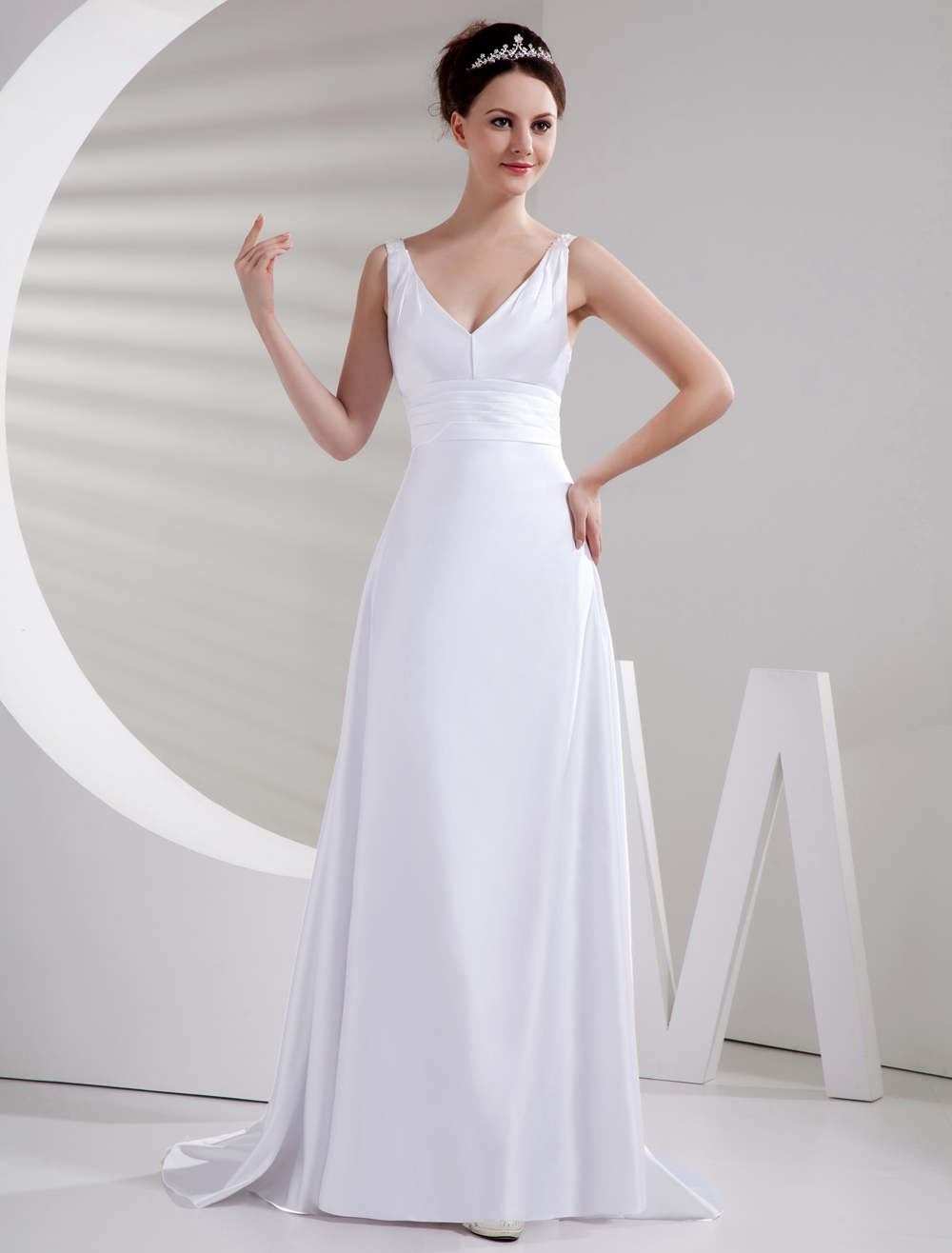 Charming White Sweep Evening Dress with V-Neck A-line Sleeveless Satin (Wedding Evening Dresses) photo