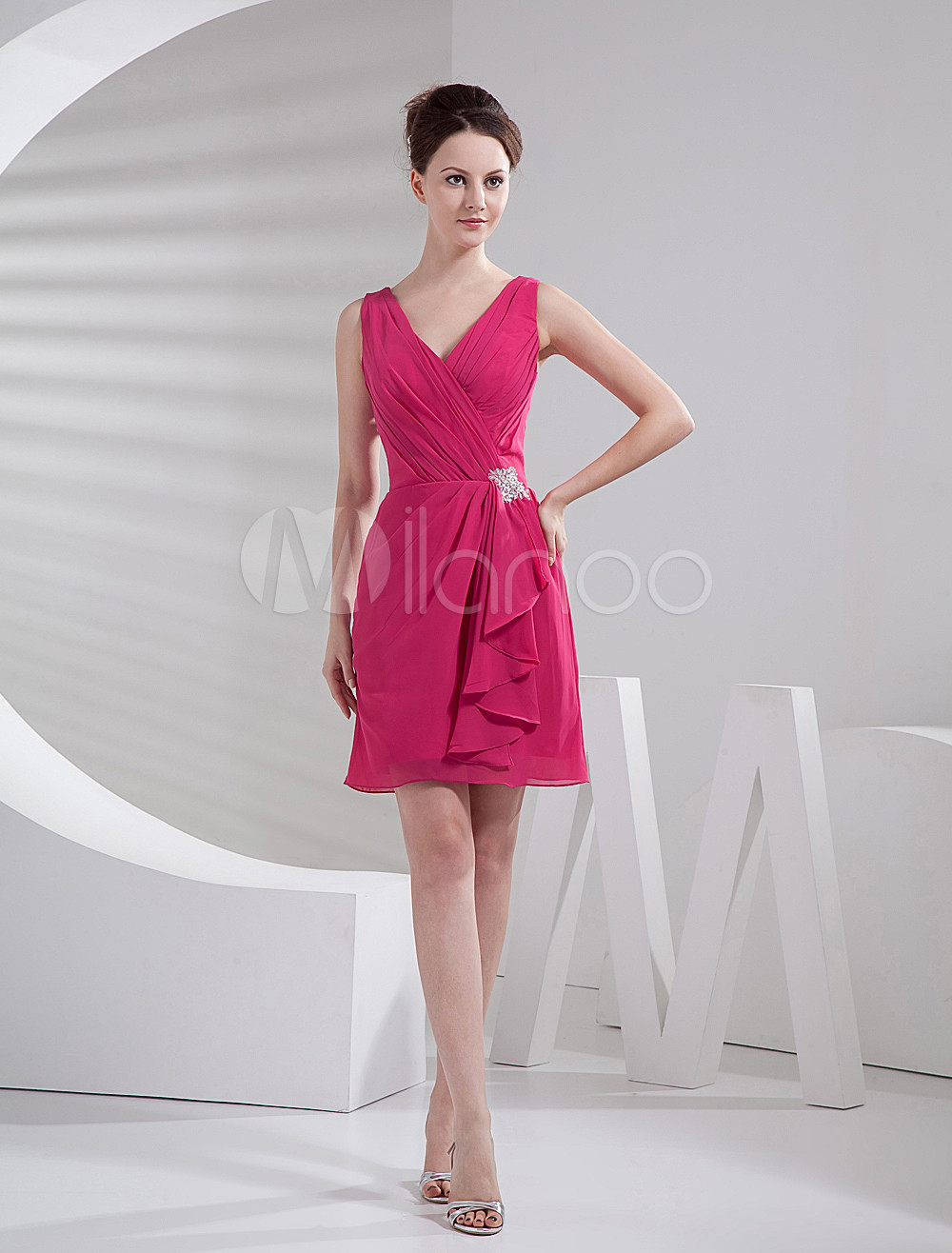 Fuchsia Knee Length A-line V-Neck Rhinestone Bridesmaid Dress