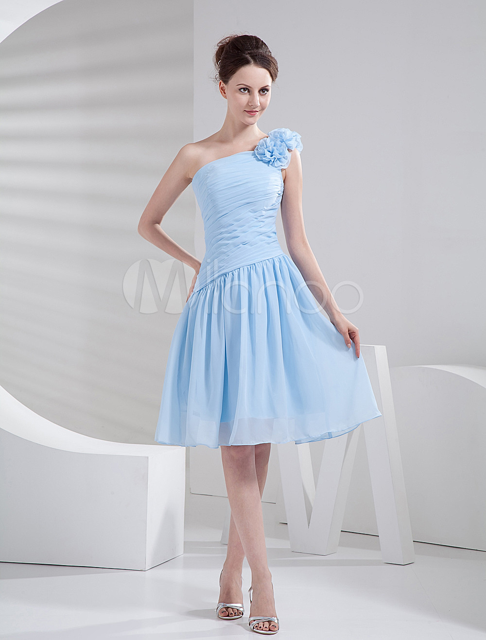 Short Bridesmaid Dress Baby Blue Ruched Chiffon A Line One Shoulder Flower Cocktail Dress