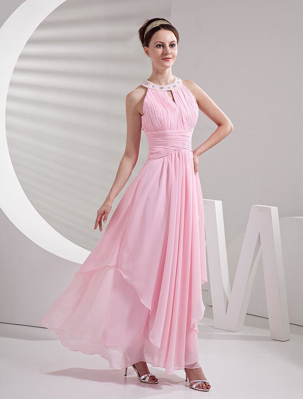 Pink Jewel Neck A-line Chiffon Metta Satin Bridesmaid Dress