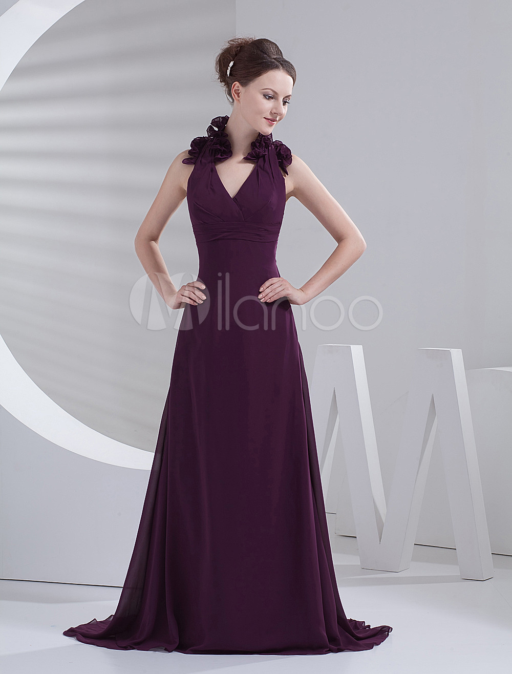 Pretty Grape Chiffon Halter Floor Length Bridesmaid Dress