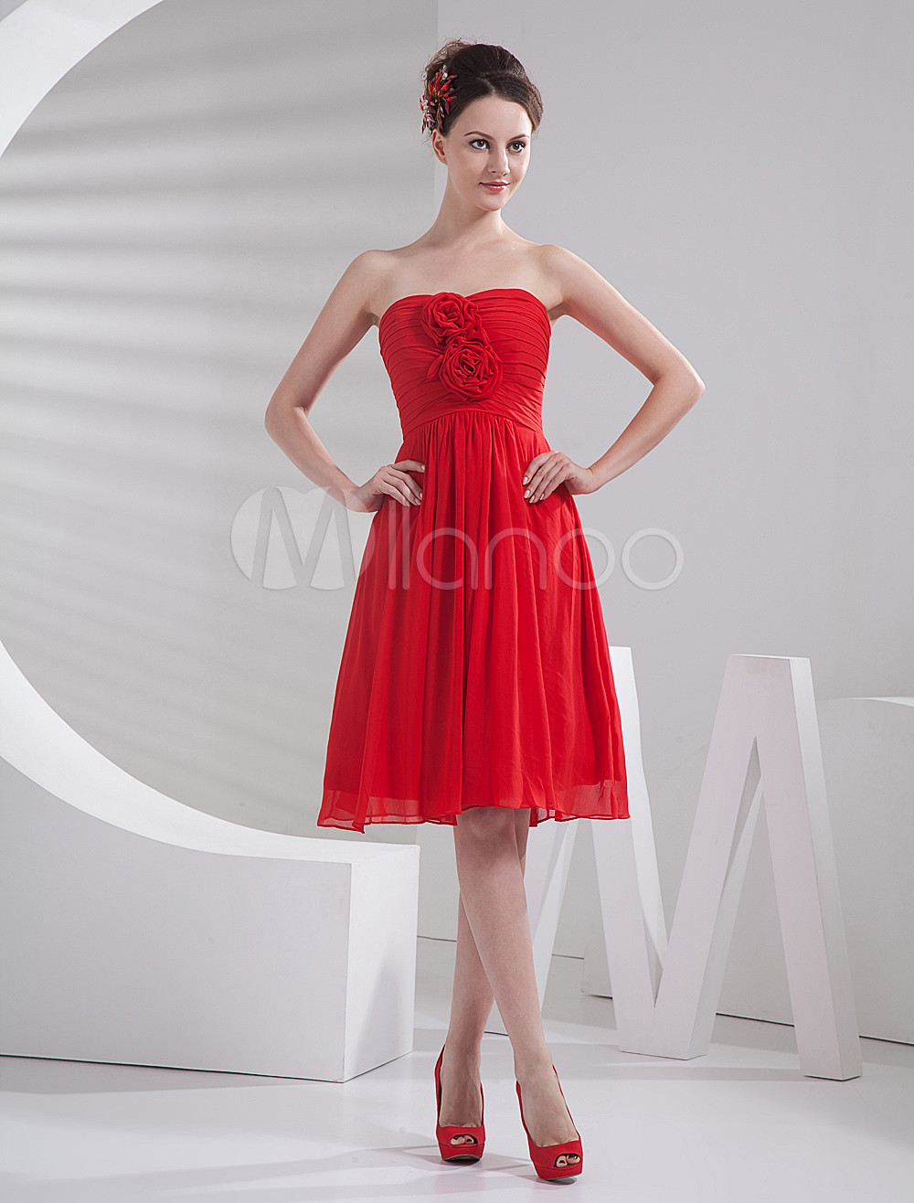 Red Chiffon Knee Length Flower Strapless Bridesmaid Dress