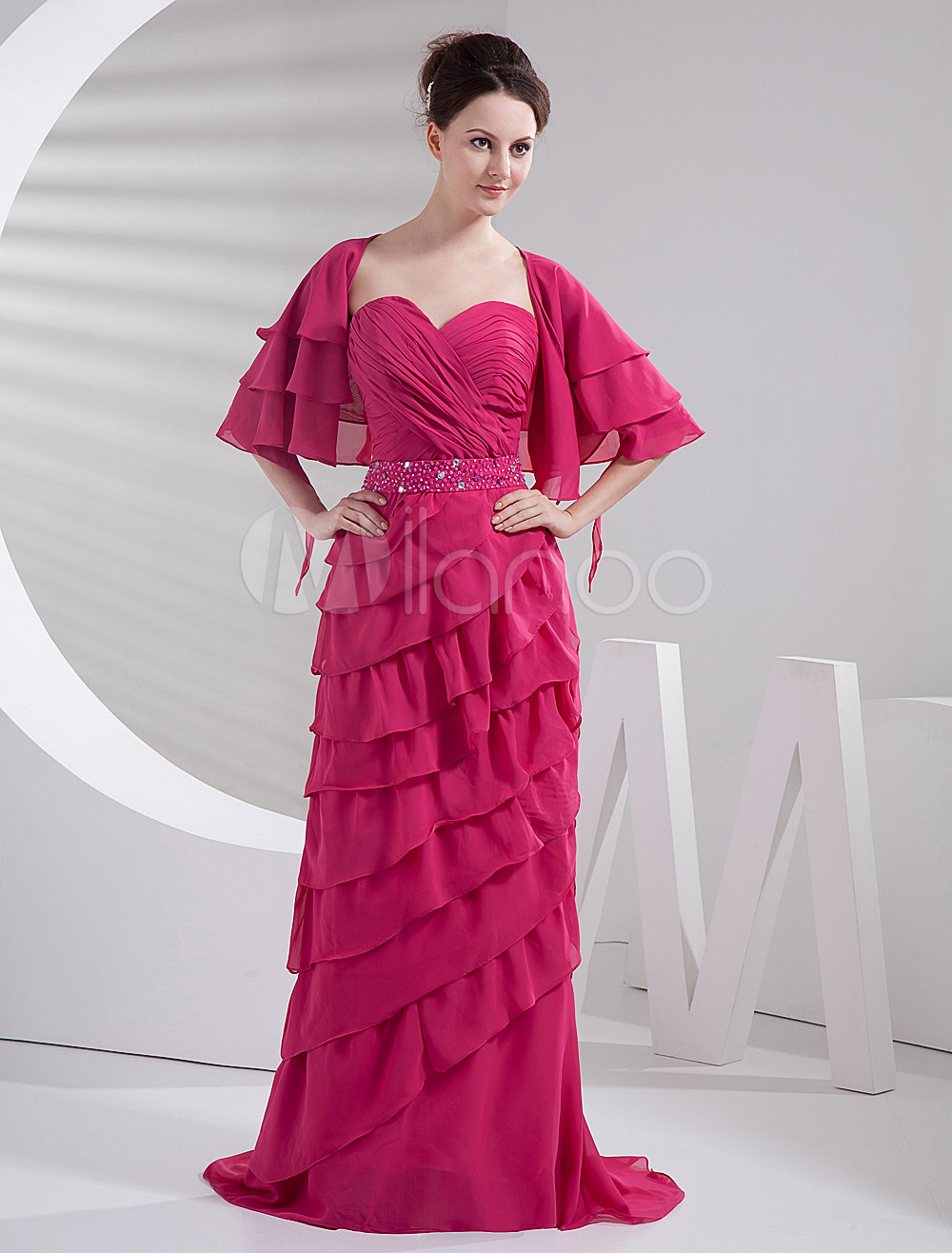 Rose Strapless Sweetheart Multi-Layer Chiffon Floor Length Bridesmaid Dresses
