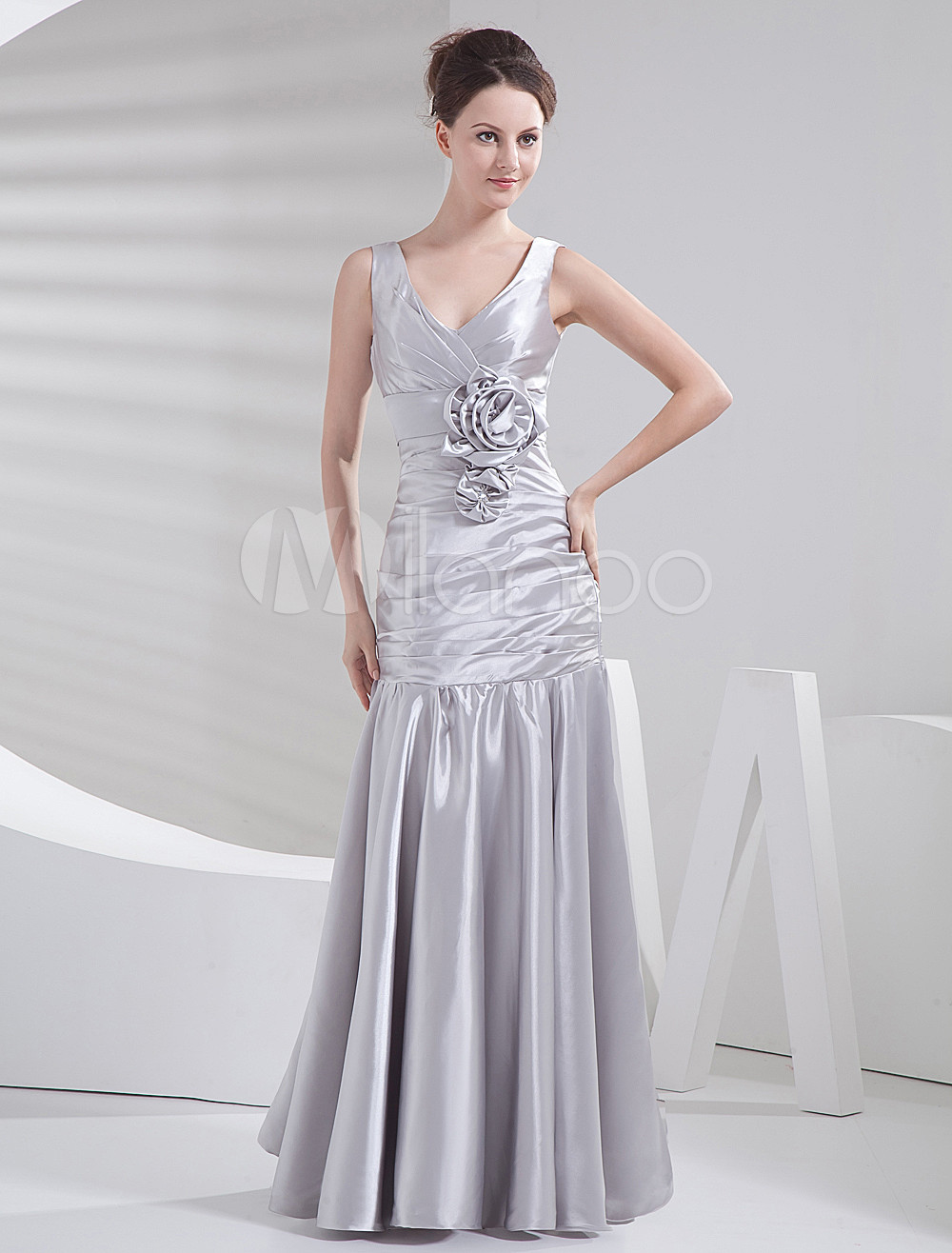 Silver Flower V-Neck Elastic Woven Satin Bridesmaid Dress