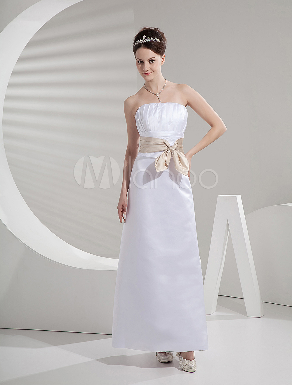 Strapless Sash Floor Length Satin Bridesmaid Dress