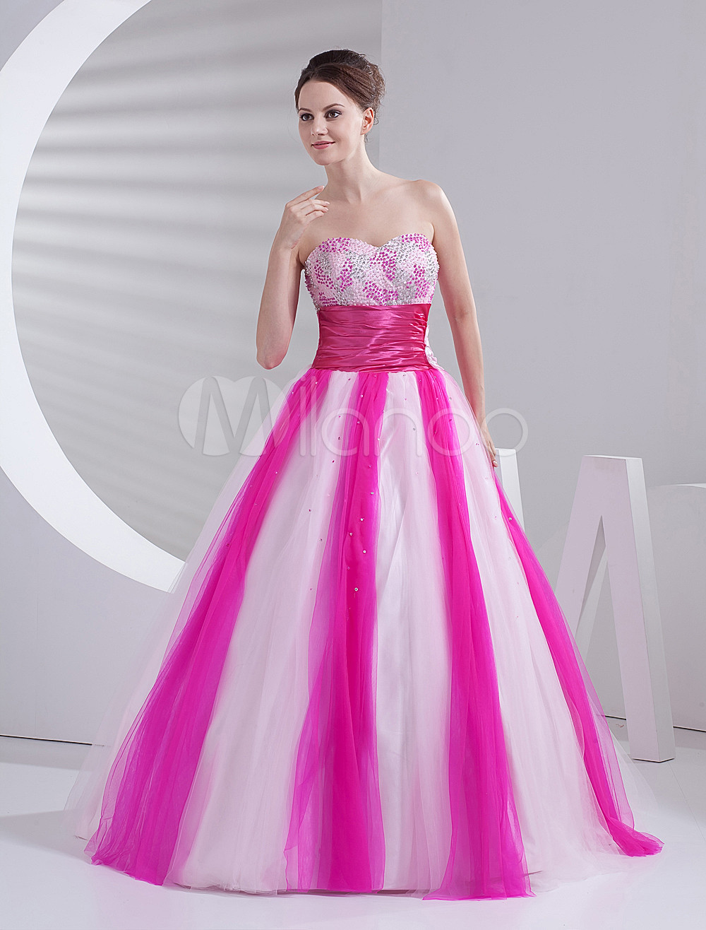 Sweet Pink Soft Tulle Strapless Floor Length Princess Prom Dress ...