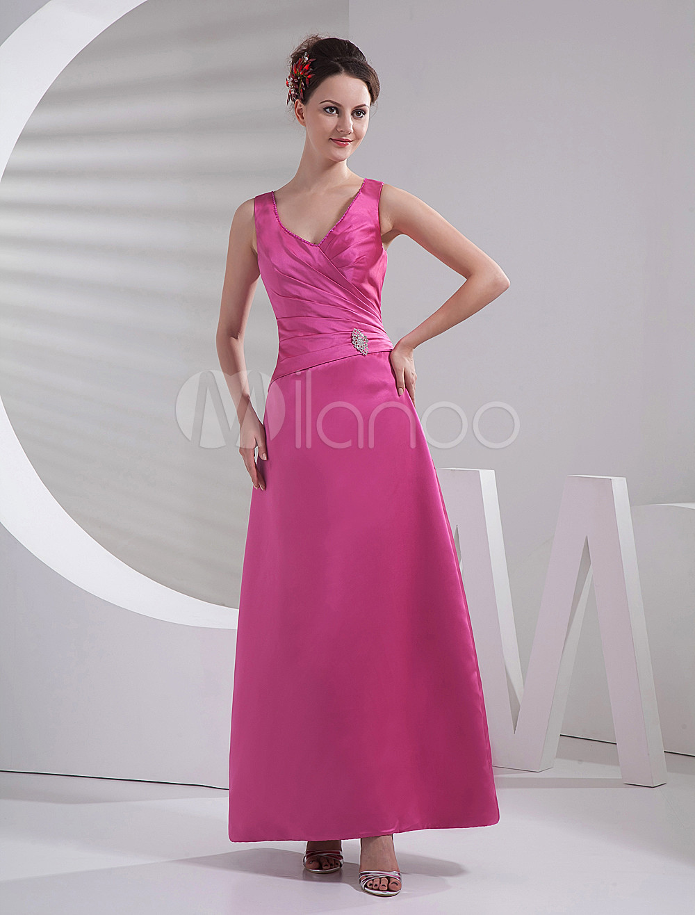 V-Neck Satin Floor Length Bridesmaid Dress