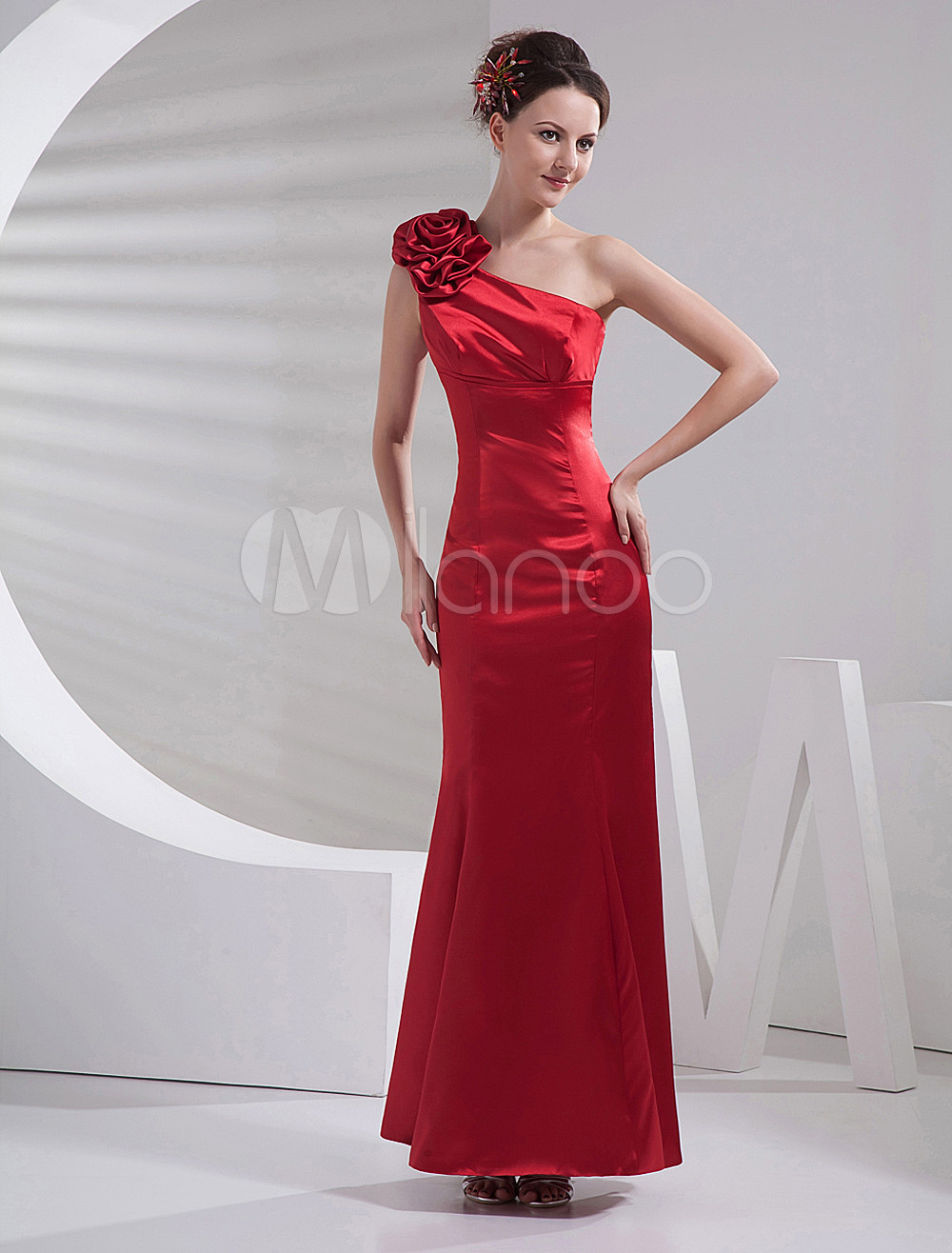 Mermaid One-Shoulder Flower Burgundy Elastic Woven Satin Bridesmaid Dress