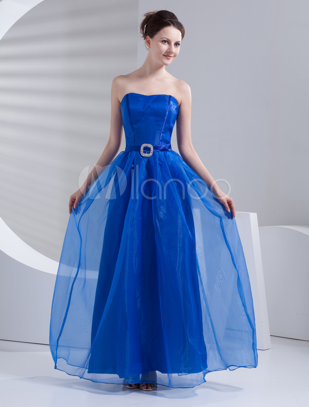 Wonderful Dark Blue Strapless A-line Maxi Gauze Bridesmaids Dress