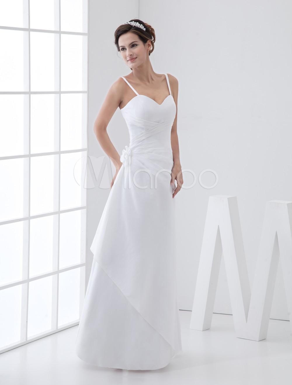 White Ruched A-Line Straps Taffeta Wedding Gown (Cheap Wedding Dress) photo