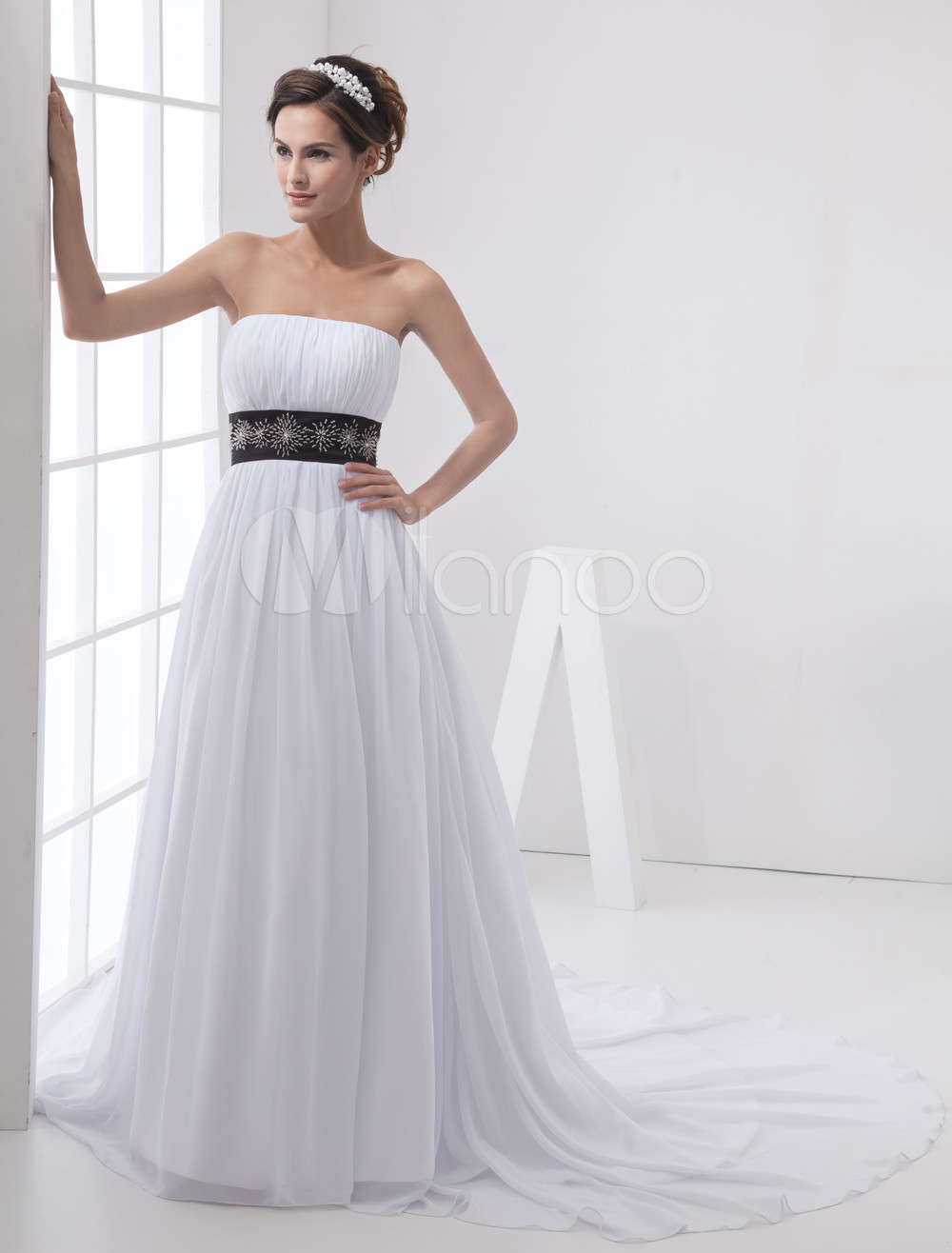 A-line Strapless Satin Tulle Wedding Dress