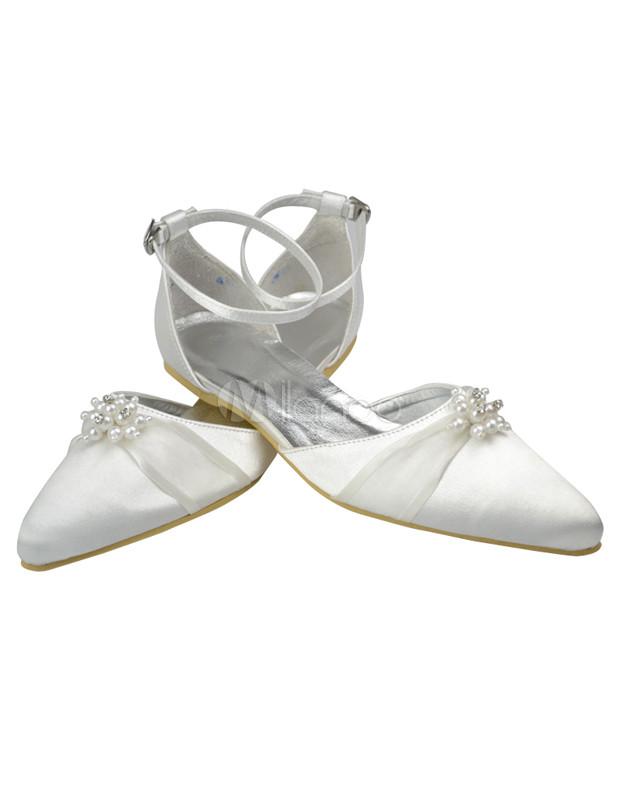 chaussures de mariage blanches plates l gantes avec rhinestones. Black Bedroom Furniture Sets. Home Design Ideas
