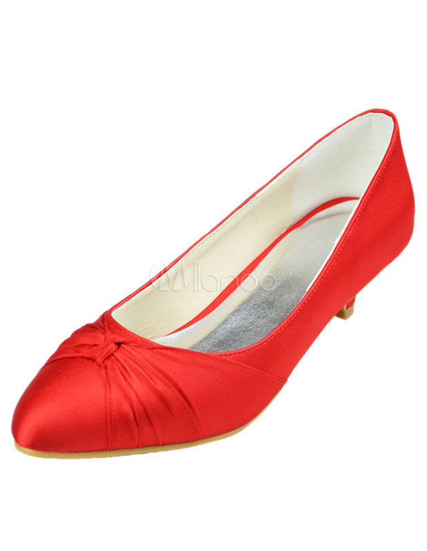 Red Pointed Toe Satin Wedding Low Heel Shoes