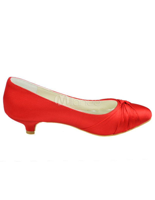 Red Pointed Toe Satin Wedding Low Heel Shoes - Milanoo.com