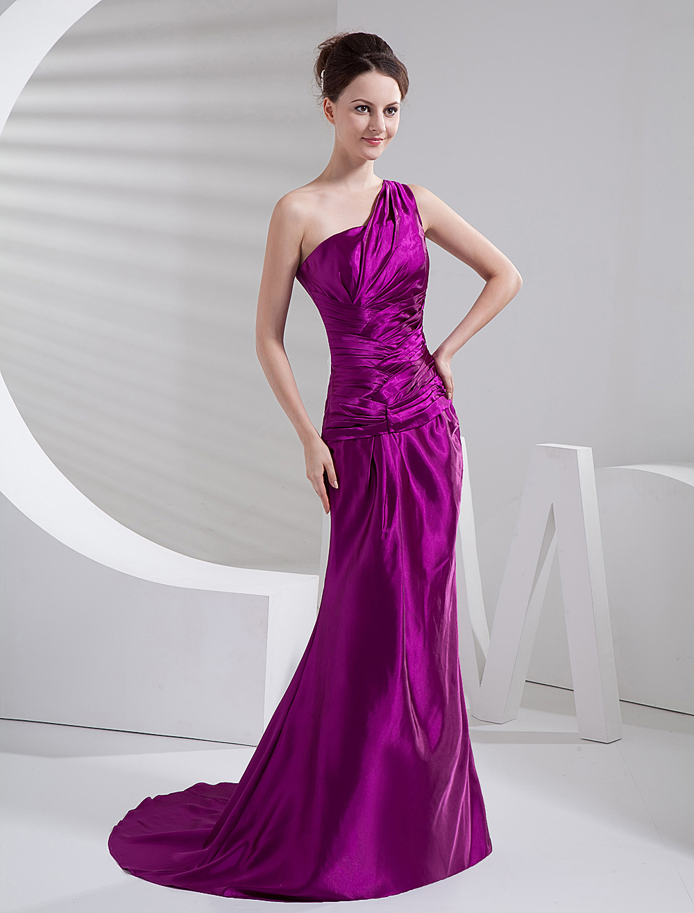 Elegant Grape Purple Elastic Woven Satin One Shoulder Prom Dress