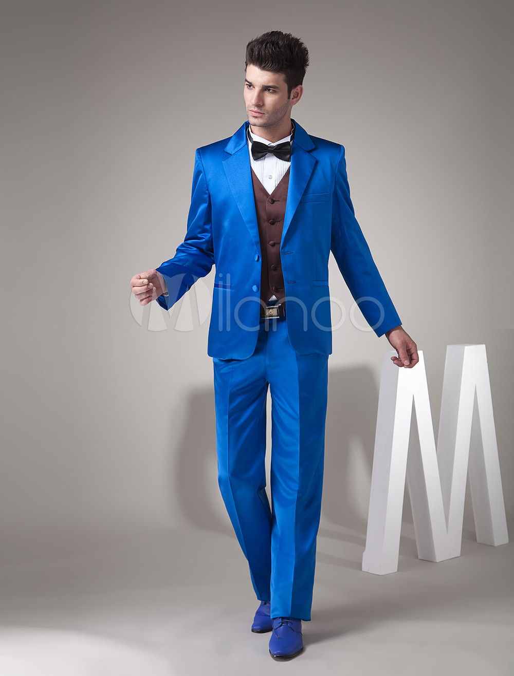 Royal Blue Single Breasted Button Worsted Groom Wedding Tuxedo ...