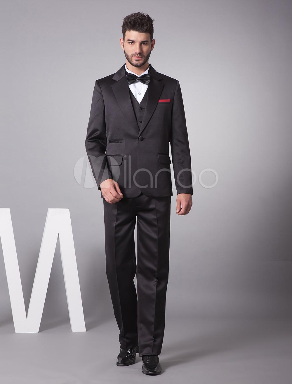 Handsome Black Satin Blending Men S Suit Milanoo Com