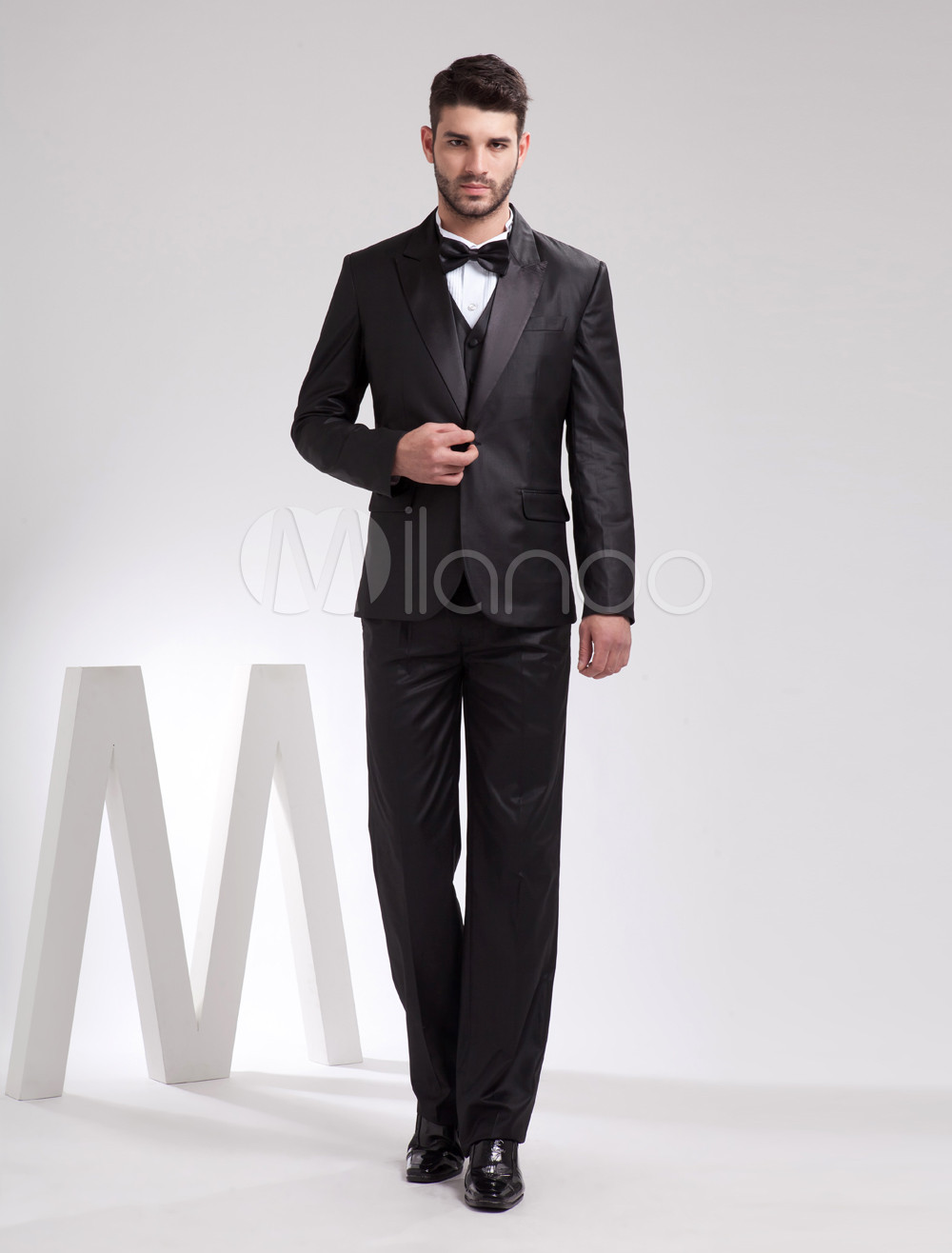 Wedding Groom Tuxedo handsome black serge front button groom tuxedo milanoo com