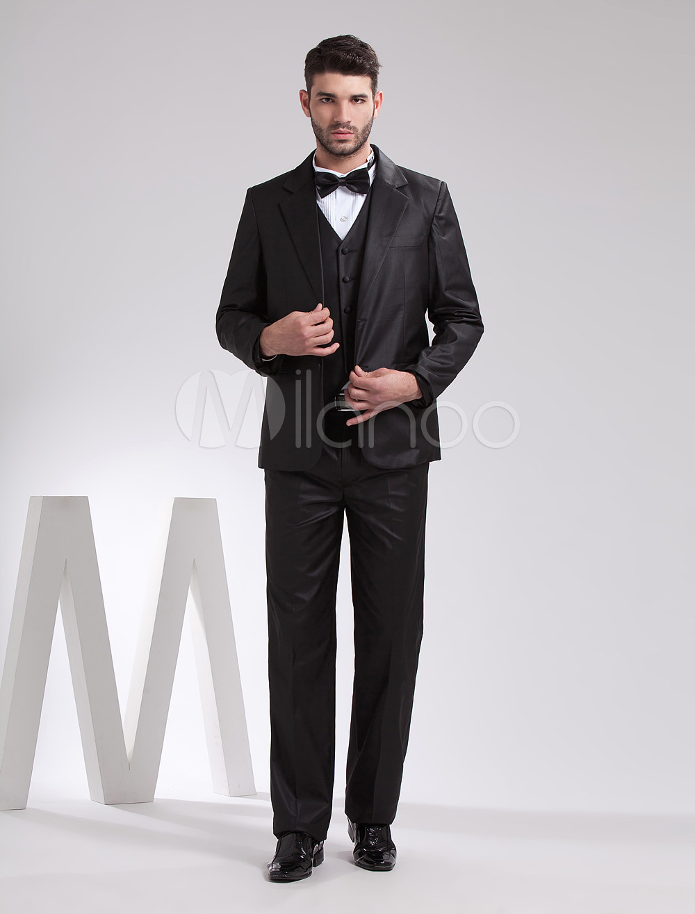 Bridesmaid trends 2017 - Handsome Black Serge Groom Wedding Tuxedo Milanoo Com
