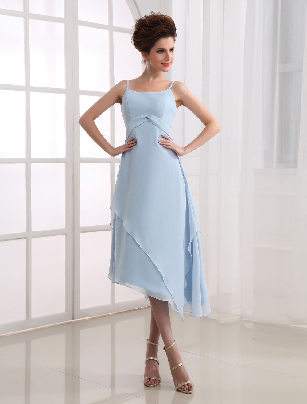 Blue Spaghetti Chiffon Bridesmaid Summer Dress