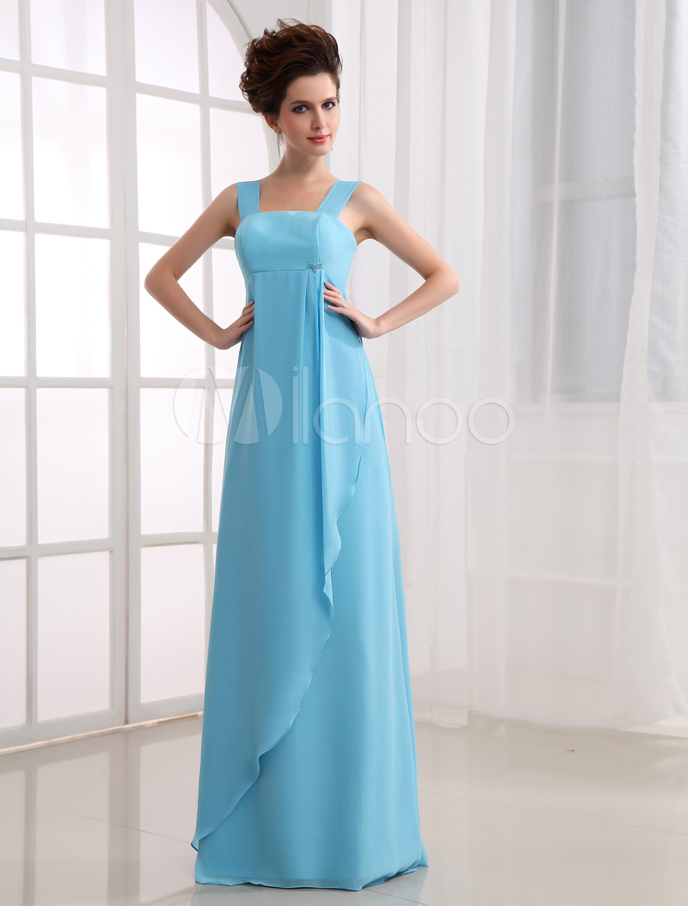 Fabulous Empire Waist Floor Length Satin Chiffon Bridesmaid Dress