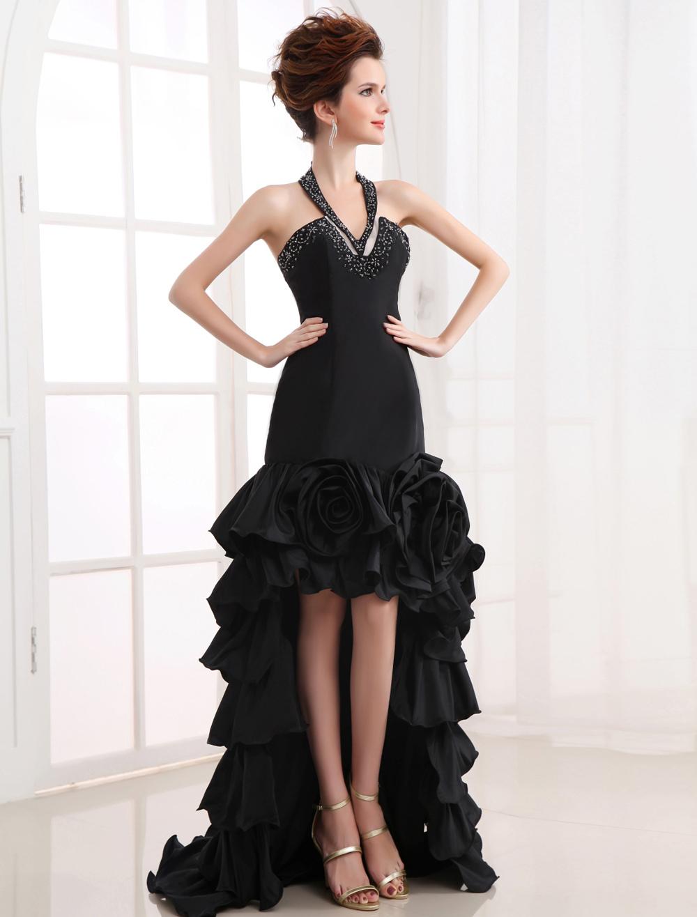 High-Low Black Wedding Dress Halter Neck Ruffle Taffeta Prom Dress (Prom Dresses) photo