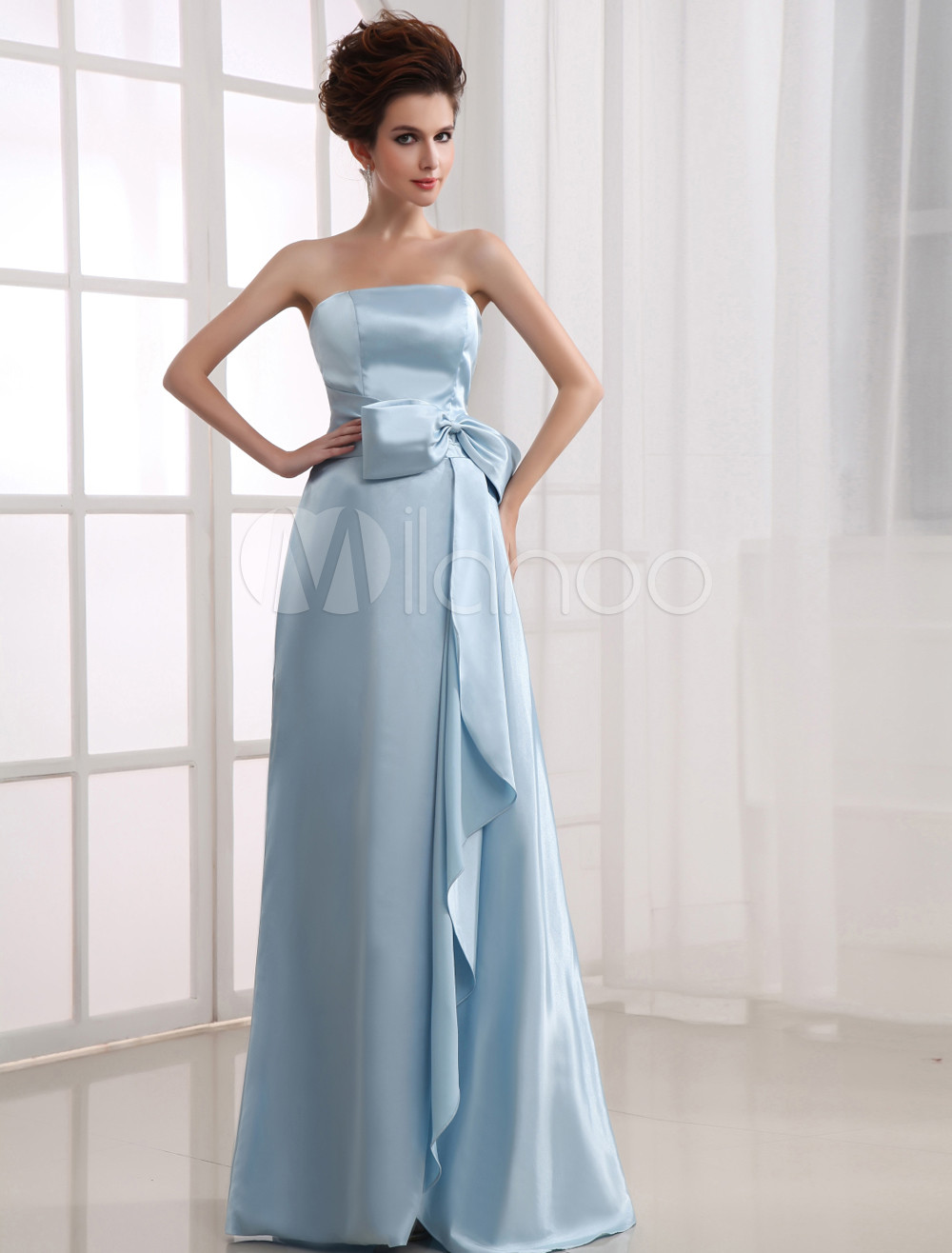 Fresh Strapless Sash Satin Bridesmaid Dress