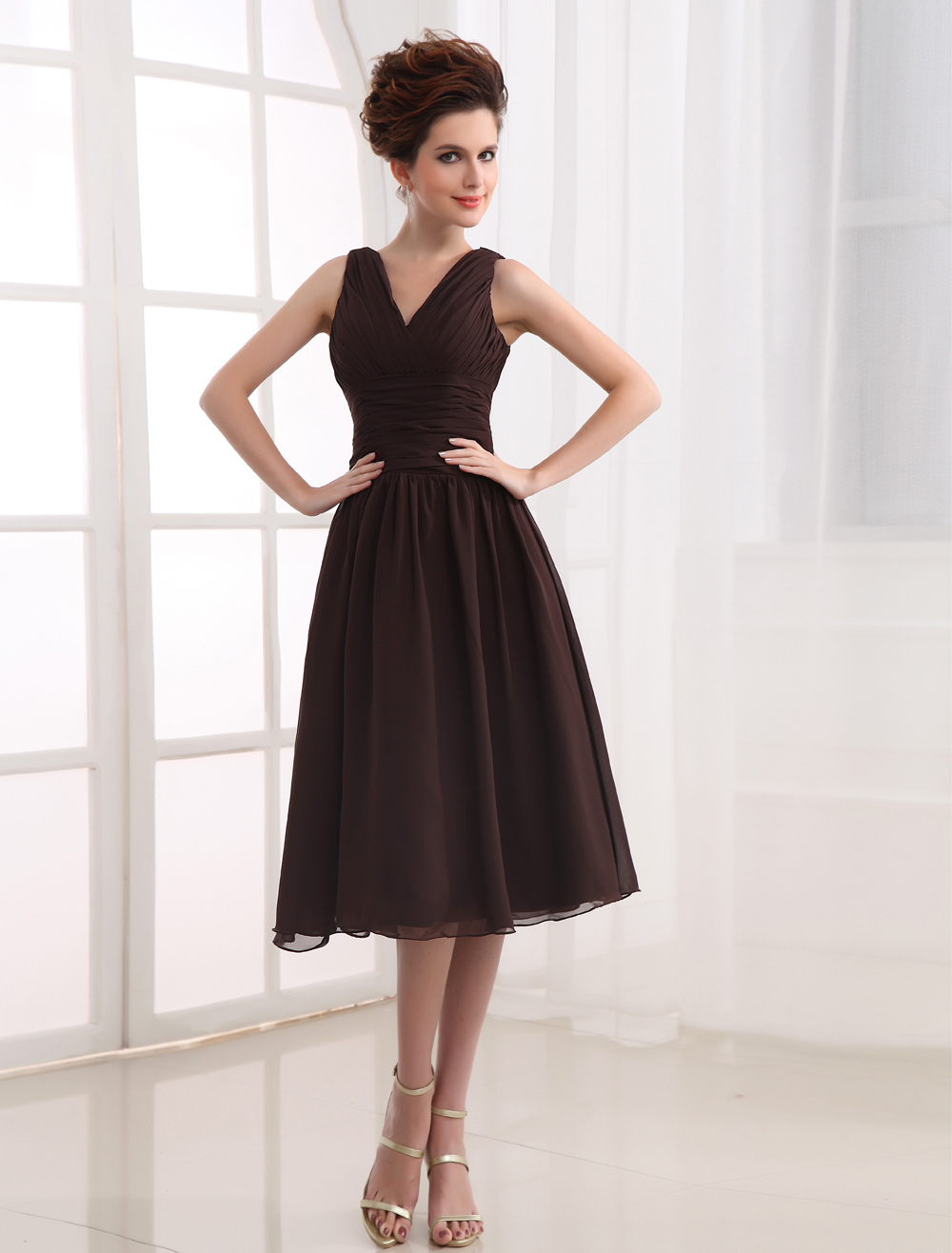V-Neck Chiffon Bridesmaid Dress