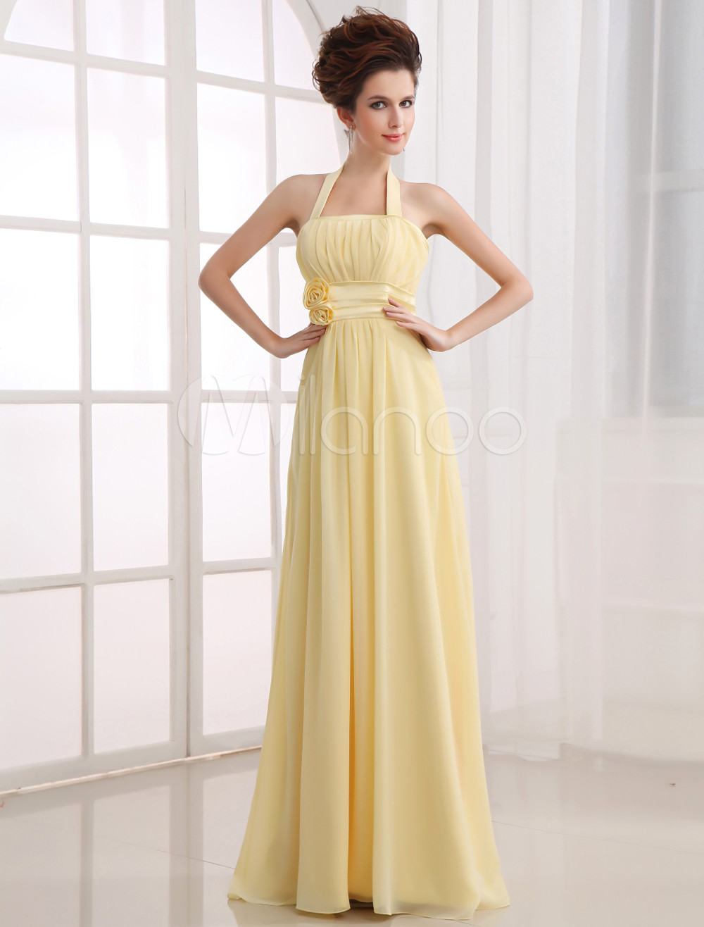 Lily Yellow Square Collar Chiffon Floor Length Womens Bridesmaid Dress
