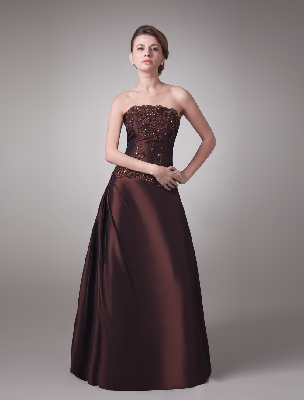 Glamour Chocolate A-line Strapless Sequin Backless Mother of the Bride Dress