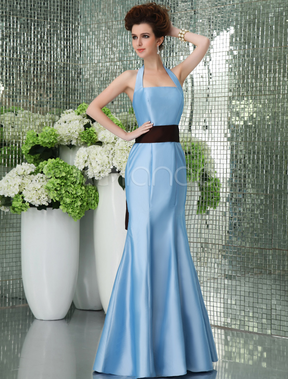 Vestidos De Baño Estilo Halter:Blue Halter Wedding Dress with Sash