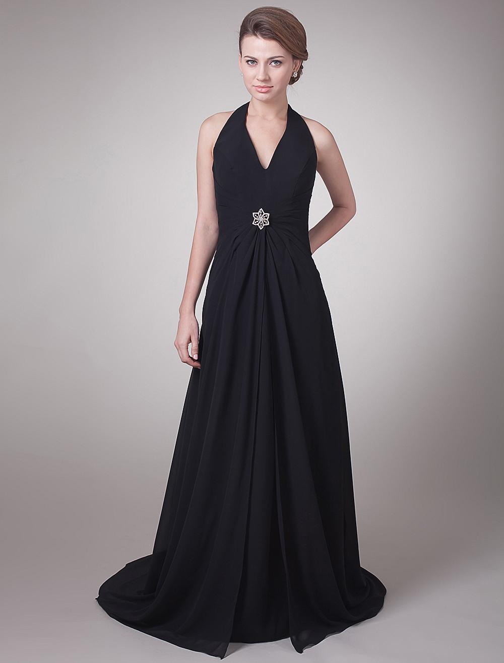 Black Halter Beaded Chiffon Mother Of Bride And Groom Dress