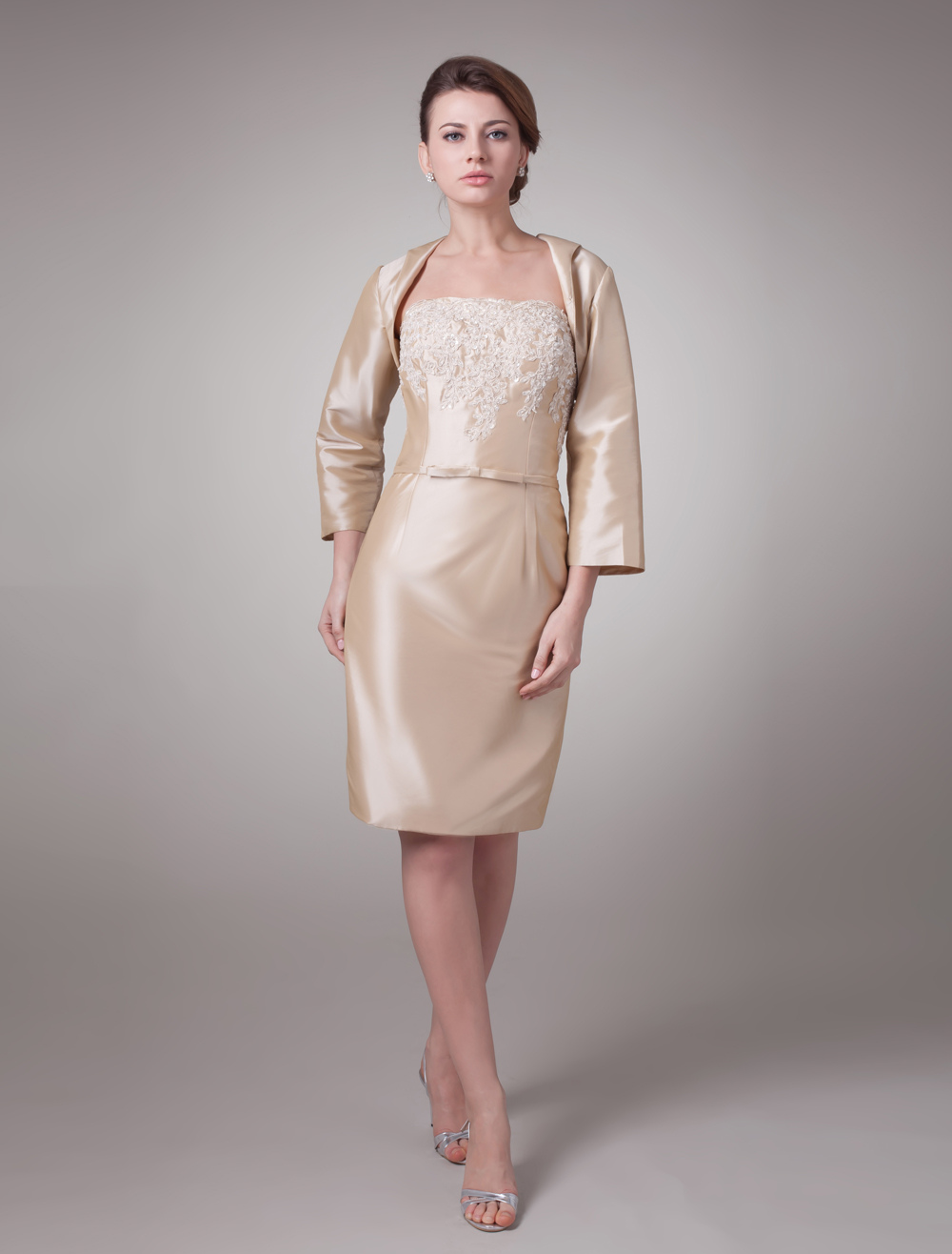 Champagne Two-Piece Taffeta Mother Of Bride And Groom Dress