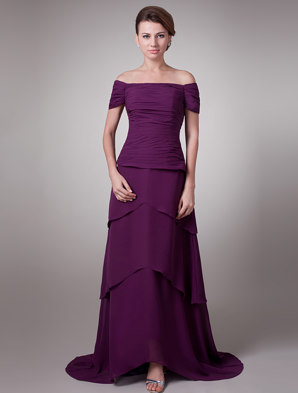 Grape A-line Off-The-Shoulder Pleated Short Sleeves Amazing Bridal Mother Dress