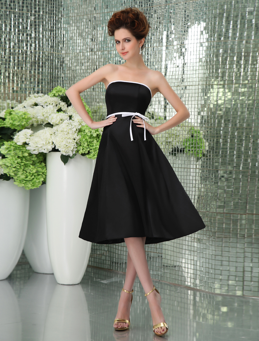 Formal Strapless Empire Waist Sash Satin Bridesmaid Dress
