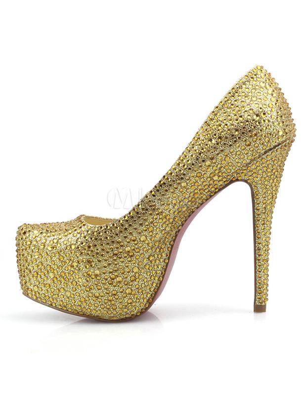 goldene damen high heels aus schafleder mit plateaus und kunstdiamanten. Black Bedroom Furniture Sets. Home Design Ideas
