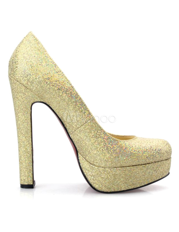 Gold Glitter Sequin Chunky Heel Woman's Pumps - Milanoo.com