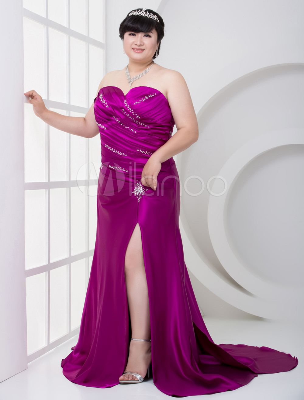 Grape Purple Elastic Woven Satin Sweetheart Plus Size Prom Dress