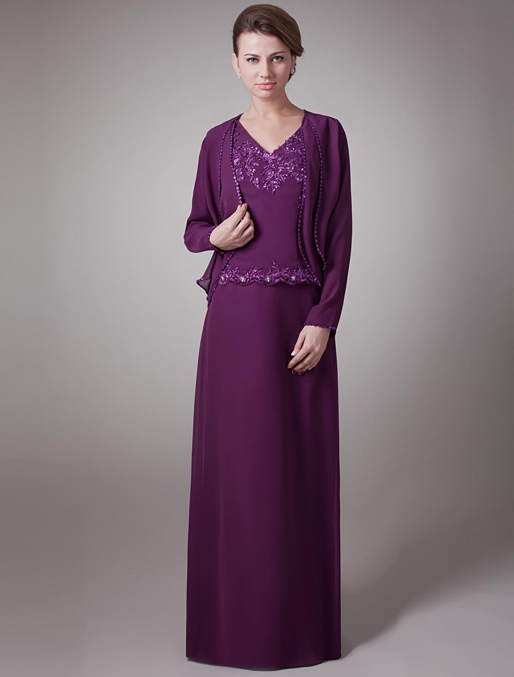 Mother's Dress 2 Piece Set Lavender A Line V Neck Sequin Embroidered Floor Length Party Dress With Jacket