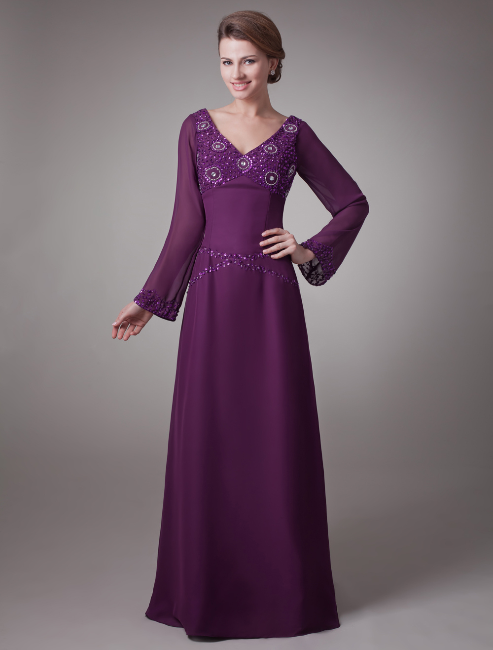 Grape A-line Charming Mother of the Bride Dress with V-Neck Sequin Long Sleeves