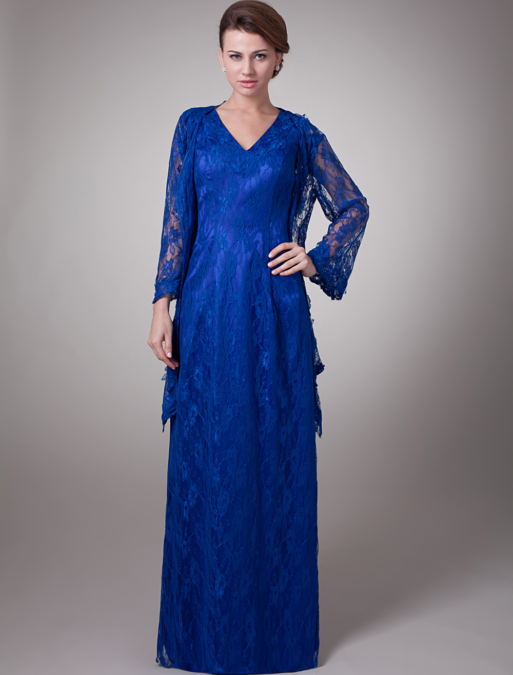 Hottest Blue Elastic Woven Satin V-Neck Mother of The Bride Dress