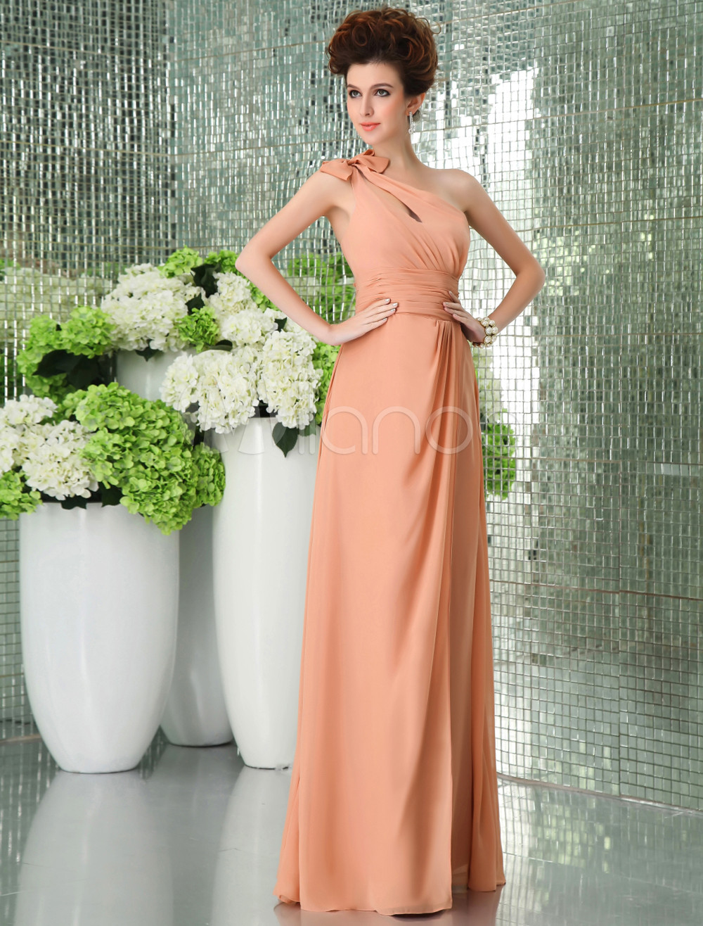 Peach Bridesmaid Dress One-Shoulder Backless Bows Chiffon Dress